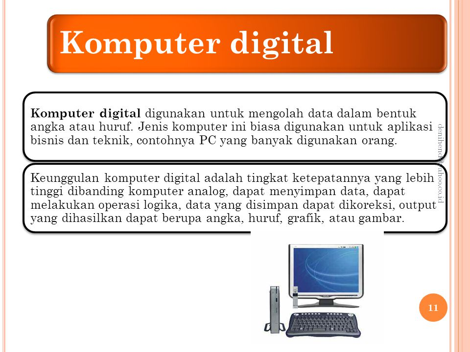 Komputer hybrid Komputer hybrid merupakan kombinasi antara komputer analog dan komputer digital.
