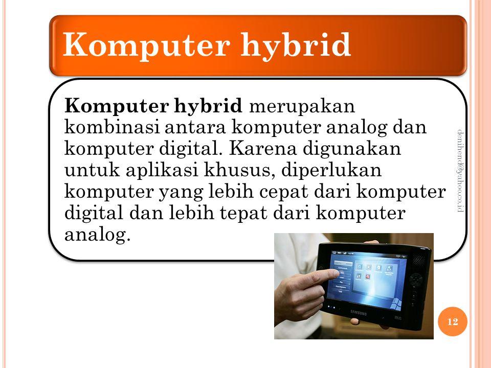 Klasifikasi Teknologi Informasi Menurut Fungsi Berdasarkan fungsinya komputer dibagi menjadi dua kategori, komputer dengan tujuan khusus ( special purpose computer ) dan komputer dengan tujuan umum ( general purpose computer ).