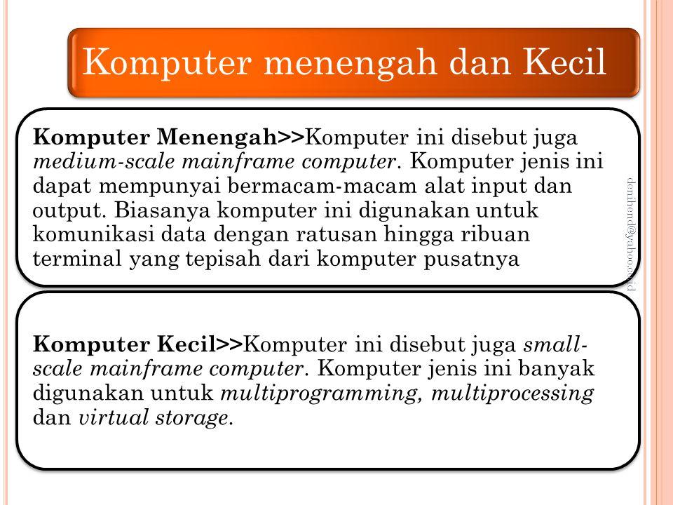 Komputer Mini Komputer mini atau mini computer sering juga disebut Midrange, biasa digunakan pada perusahaan-perusahaan skala menengah sebagai server.