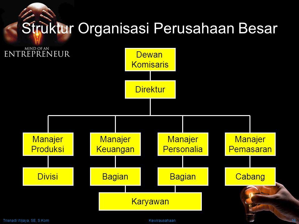 Trisnadi Wijaya, SE, S.Kom Kewirausahaan16 Struktur Organisasi Perusahaan Besar Dewan Komisaris Manajer Produksi Manajer Keuangan Manajer Personalia M