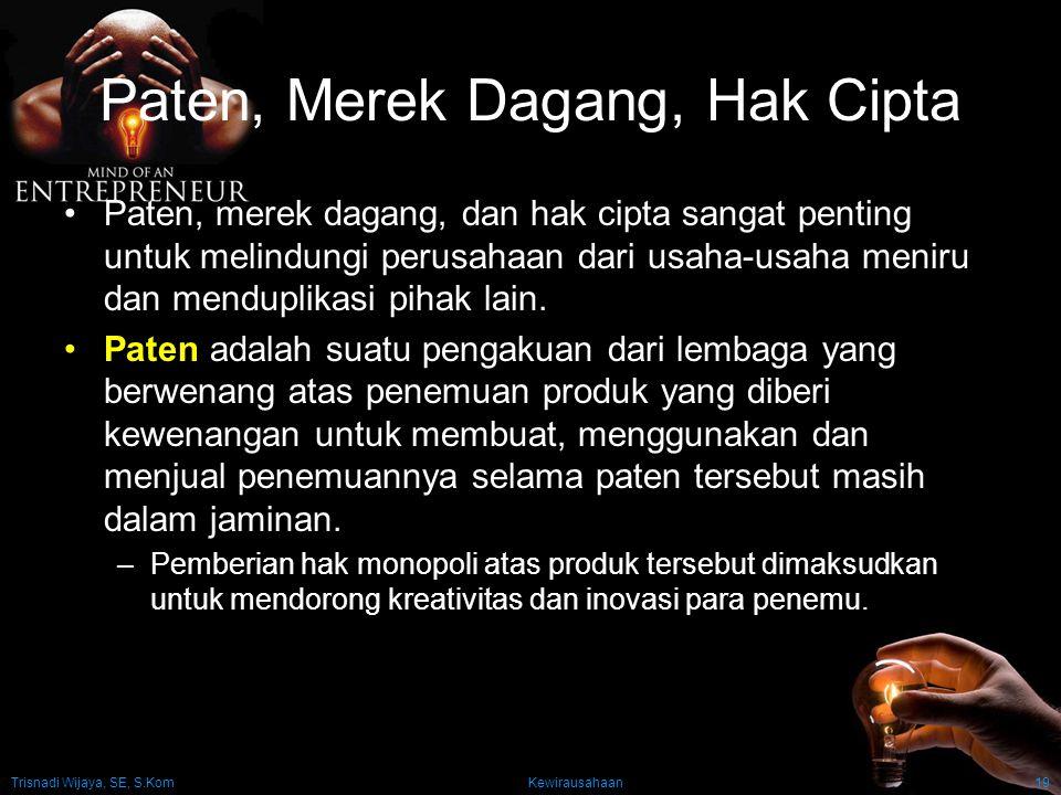 Trisnadi Wijaya, SE, S.Kom Kewirausahaan19 Paten, Merek Dagang, Hak Cipta Paten, merek dagang, dan hak cipta sangat penting untuk melindungi perusahaa