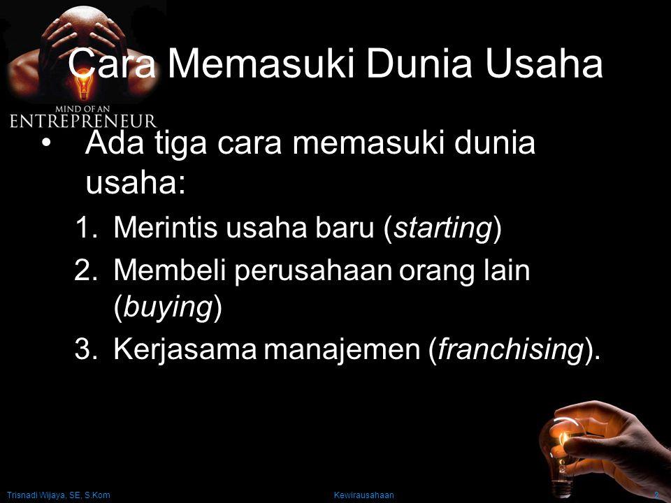Trisnadi Wijaya, SE, S.Kom Kewirausahaan3 Merintis Usaha Baru Dua pendekatan utama untuk mencari peluang: 1.Inside-out (idea generation) Pendekatan berdasarkan gagasan sebagai kunci yang menentukan keberhasilan usaha.