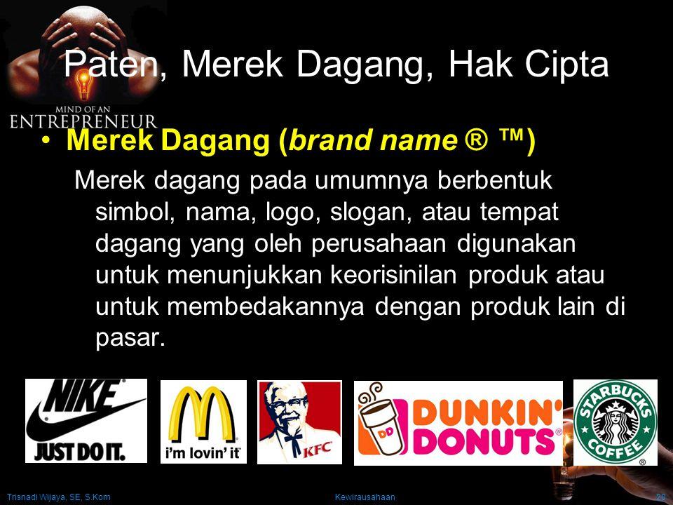 Trisnadi Wijaya, SE, S.Kom Kewirausahaan20 Paten, Merek Dagang, Hak Cipta Merek Dagang (brand name ® ™) Merek dagang pada umumnya berbentuk simbol, na