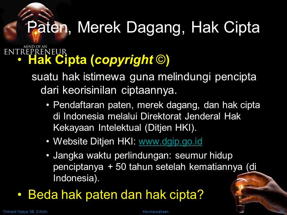 Trisnadi Wijaya, SE, S.Kom Kewirausahaan21 Paten, Merek Dagang, Hak Cipta Hak Cipta (copyright ©) suatu hak istimewa guna melindungi pencipta dari keo