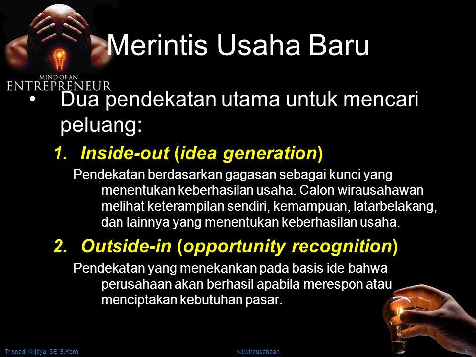 Trisnadi Wijaya, SE, S.Kom Kewirausahaan3 Merintis Usaha Baru Dua pendekatan utama untuk mencari peluang: 1.Inside-out (idea generation) Pendekatan be