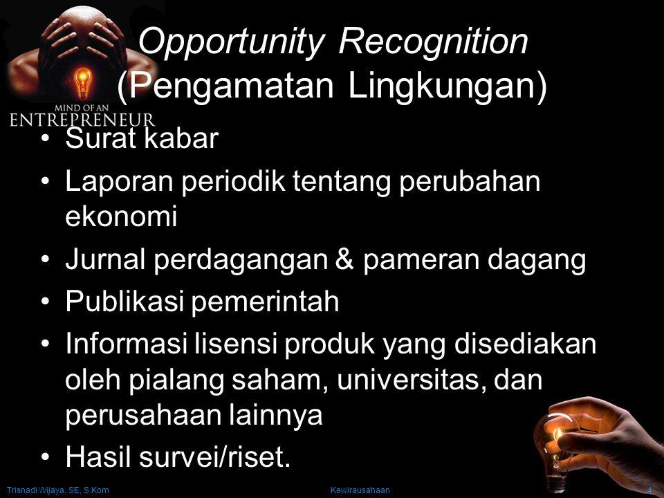 Trisnadi Wijaya, SE, S.Kom Kewirausahaan4 Opportunity Recognition (Pengamatan Lingkungan) Surat kabar Laporan periodik tentang perubahan ekonomi Jurna
