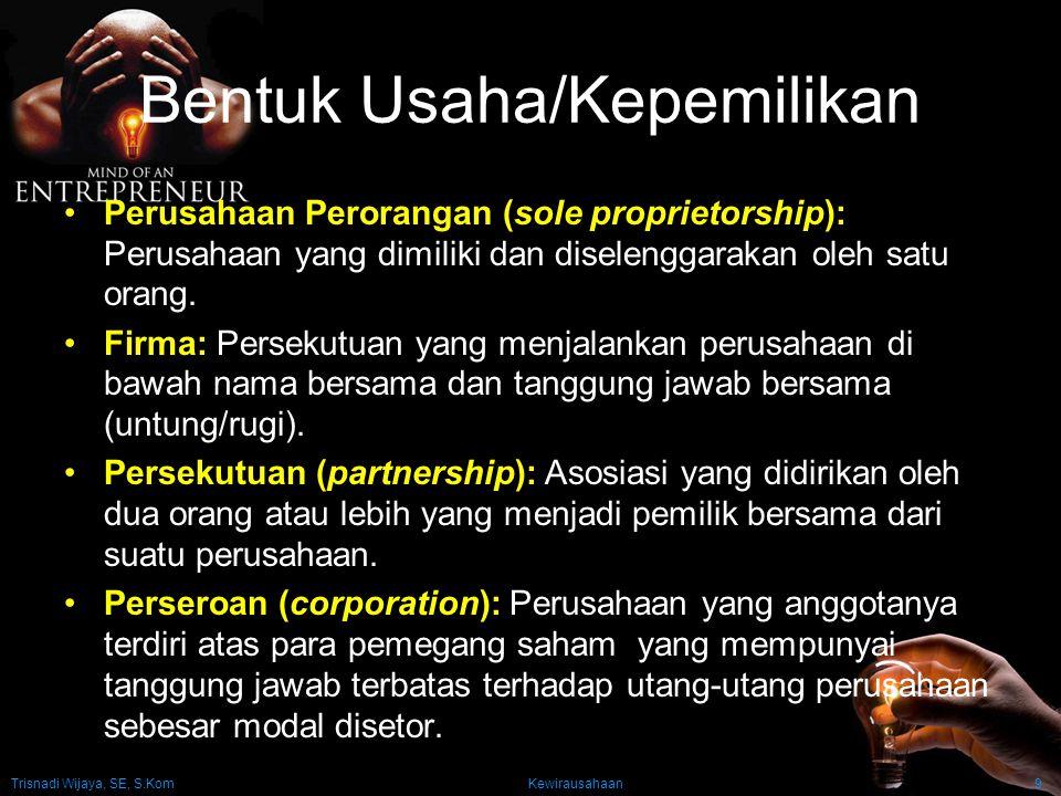 Trisnadi Wijaya, SE, S.Kom Kewirausahaan9 Bentuk Usaha/Kepemilikan Perusahaan Perorangan (sole proprietorship): Perusahaan yang dimiliki dan diselengg