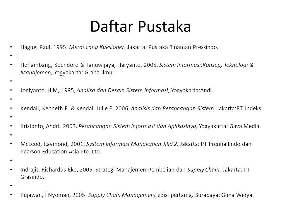 Daftar Pustaka Hague, Paul. 1995. Merancang Kuesioner. Jakarta: Pustaka Binaman Pressindo. Herlambang, Soendoro & Tanuwijaya, Haryanto. 2005. Sistem I