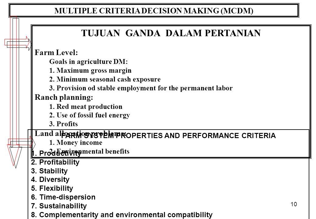 10 MULTIPLE CRITERIA DECISION MAKING (MCDM) TUJUAN GANDA DALAM PERTANIAN Farm Level: Goals in agriculture DM: 1. Maximum gross margin 2. Minimum seaso