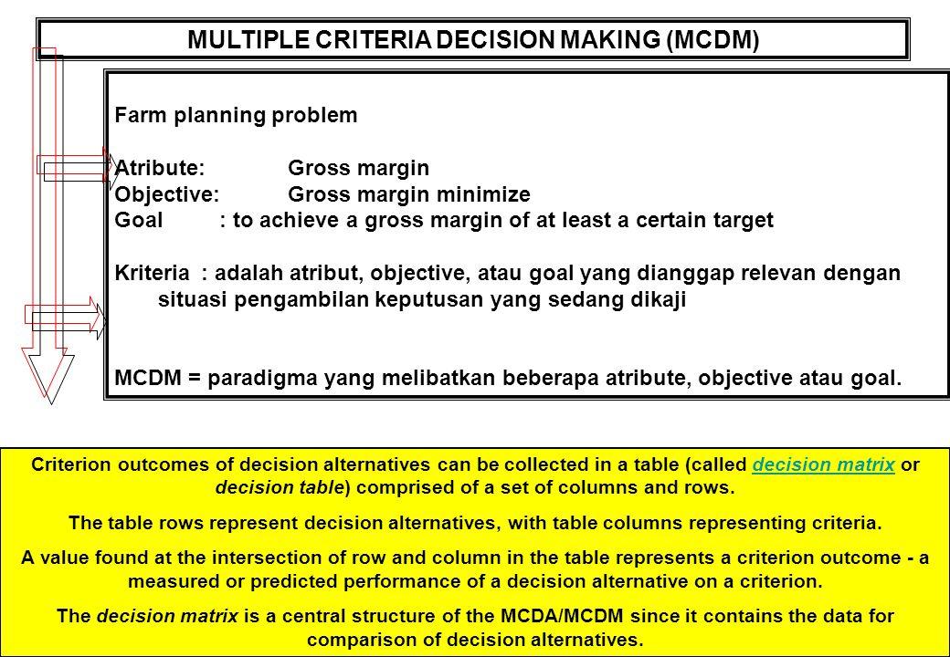 MULTIPLE CRITERIA DECISION MAKING (MCDM) Farm planning problem Atribute:Gross margin Objective:Gross margin minimize Goal : to achieve a gross margin of at least a certain target Kriteria: adalah atribut, objective, atau goal yang dianggap relevan dengan situasi pengambilan keputusan yang sedang dikaji MCDM = paradigma yang melibatkan beberapa atribute, objective atau goal.