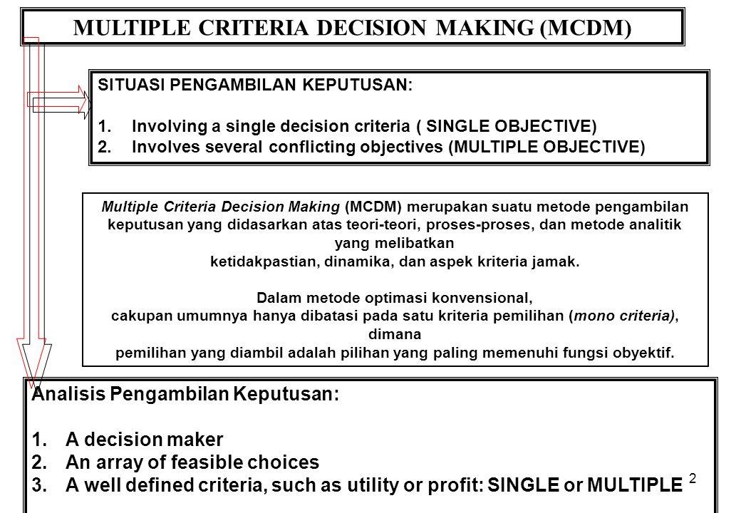 2 MULTIPLE CRITERIA DECISION MAKING (MCDM) SITUASI PENGAMBILAN KEPUTUSAN: 1.Involving a single decision criteria ( SINGLE OBJECTIVE) 2.Involves severa