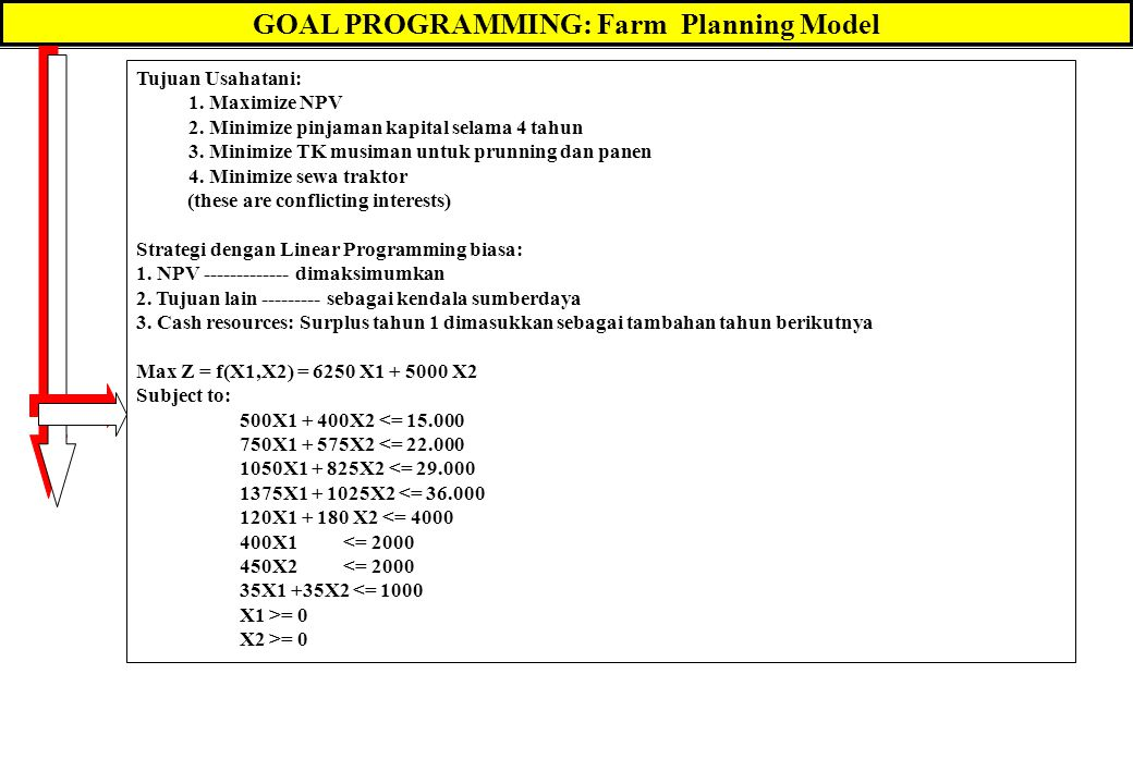 GOAL PROGRAMMING: Farm Planning Model Tujuan Usahatani: 1. Maximize NPV 2. Minimize pinjaman kapital selama 4 tahun 3. Minimize TK musiman untuk prunn