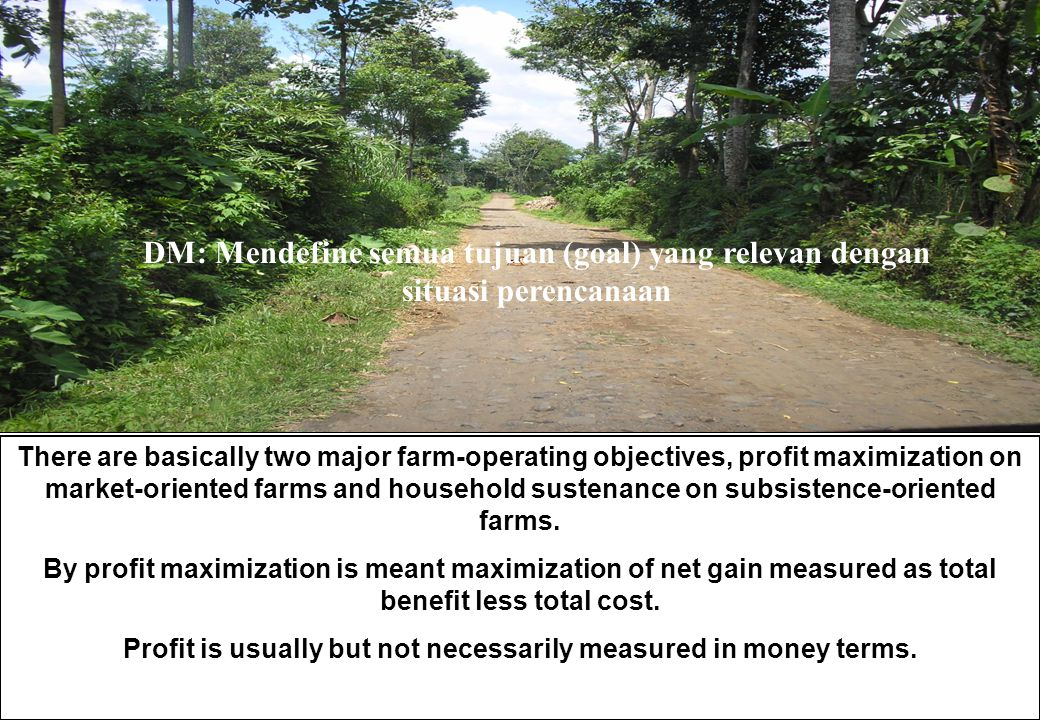 DM: Mendefine semua tujuan (goal) yang relevan dengan situasi perencanaan There are basically two major farm-operating objectives, profit maximization on market-oriented farms and household sustenance on subsistence-oriented farms.
