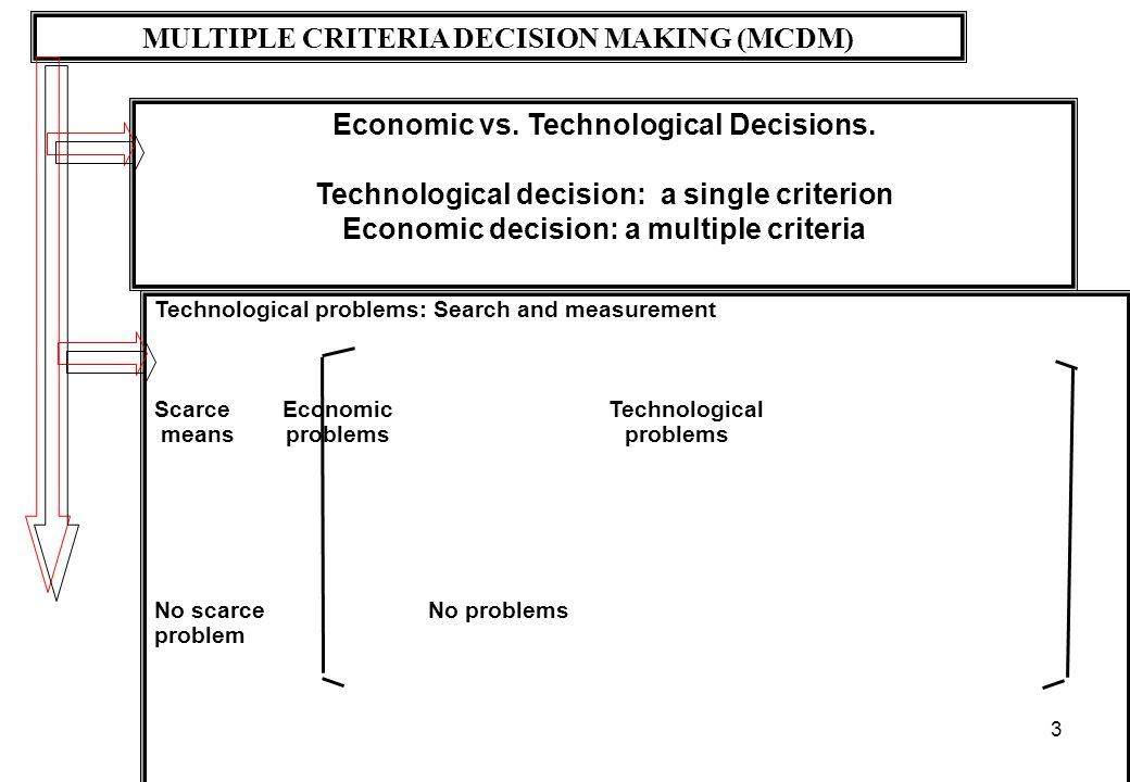 3 MULTIPLE CRITERIA DECISION MAKING (MCDM) Economic vs. Technological Decisions. Technological decision: a single criterion Economic decision: a multi