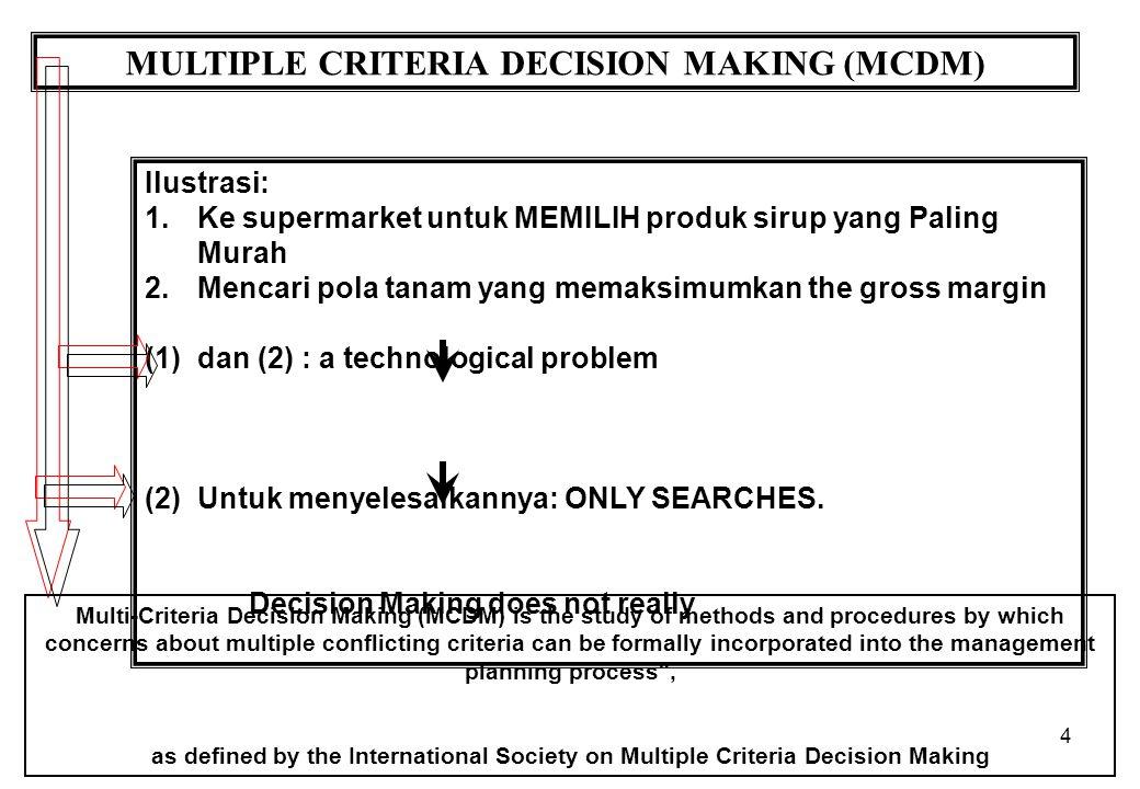 4 MULTIPLE CRITERIA DECISION MAKING (MCDM) Ilustrasi: 1.Ke supermarket untuk MEMILIH produk sirup yang Paling Murah 2.Mencari pola tanam yang memaksim