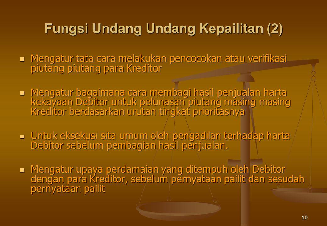 10 Fungsi Undang Undang Kepailitan (2) Mengatur tata cara melakukan pencocokan atau verifikasi piutang piutang para Kreditor Mengatur tata cara melakukan pencocokan atau verifikasi piutang piutang para Kreditor Mengatur bagaimana cara membagi hasil penjualan harta kekayaan Debitor untuk pelunasan piutang masing masing Kreditor berdasarkan urutan tingkat prioritasnya Mengatur bagaimana cara membagi hasil penjualan harta kekayaan Debitor untuk pelunasan piutang masing masing Kreditor berdasarkan urutan tingkat prioritasnya Untuk eksekusi sita umum oleh pengadilan terhadap harta Debitor sebelum pembagian hasil penjualan.
