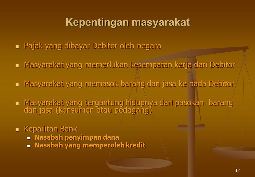 12 Kepentingan masyarakat Pajak yang dibayar Debitor oleh negara Pajak yang dibayar Debitor oleh negara Masyarakat yang memerlukan kesempatan kerja dari Debitor Masyarakat yang memerlukan kesempatan kerja dari Debitor Masyarakat yang memasok barang dan jasa ke pada Debitor Masyarakat yang memasok barang dan jasa ke pada Debitor Masyarakat yang tergantung hidupnya dari pasokan barang dan jasa (konsumen atau pedagang) Masyarakat yang tergantung hidupnya dari pasokan barang dan jasa (konsumen atau pedagang) Kepailitan Bank Kepailitan Bank Nasabah penyimpan dana Nasabah penyimpan dana Nasabah yang memperoleh kredit Nasabah yang memperoleh kredit