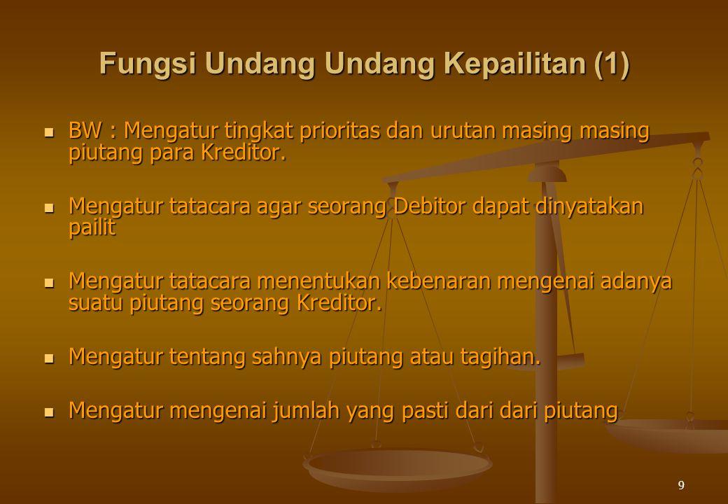 9 Fungsi Undang Undang Kepailitan (1) BW : Mengatur tingkat prioritas dan urutan masing masing piutang para Kreditor. BW : Mengatur tingkat prioritas