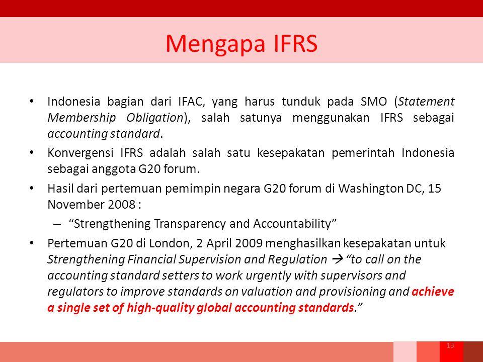 Mengapa IFRS Indonesia bagian dari IFAC, yang harus tunduk pada SMO (Statement Membership Obligation), salah satunya menggunakan IFRS sebagai accounti