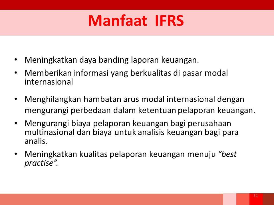 Manfaat IFRS Meningkatkan daya banding laporan keuangan.