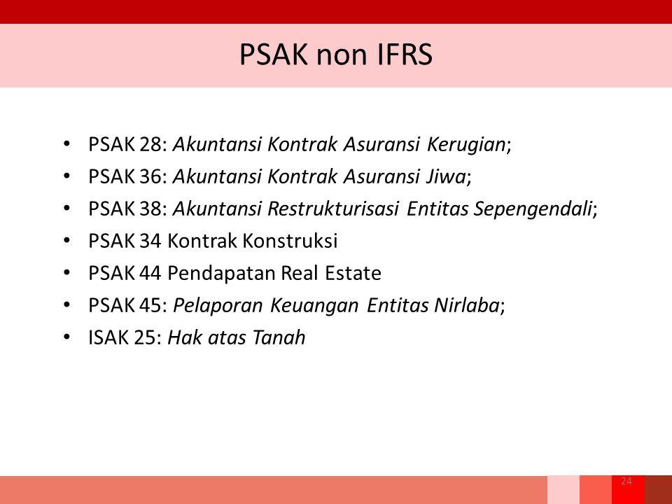 PSAK non IFRS PSAK 28: Akuntansi Kontrak Asuransi Kerugian; PSAK 36: Akuntansi Kontrak Asuransi Jiwa; PSAK 38: Akuntansi Restrukturisasi Entitas Sepen