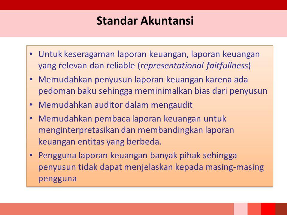 Standar Akuntansi Untuk keseragaman laporan keuangan, laporan keuangan yang relevan dan reliable (representational faitfullness) Memudahkan penyusun l
