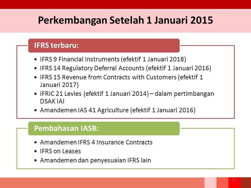 Perkembangan Setelah 1 Januari 2015 31 IFRS 9 Financial Instruments (efektif 1 Januari 2018) IFRS 14 Regulatory Deferral Accounts (efektif 1 Januari 2016) IFRS 15 Revenue from Contracts with Customers (efektif 1 Januari 2017) IFRIC 21 Levies (efektif 1 Januari 2014) – dalam pertimbangan DSAK IAI Amandemen IAS 41 Agriculture (efektif 1 Januari 2016) IFRS terbaru: Amandemen IFRS 4 Insurance Contracts IFRS on Leases Amandemen dan penyesuaian IFRS lain Pembahasan IASB: