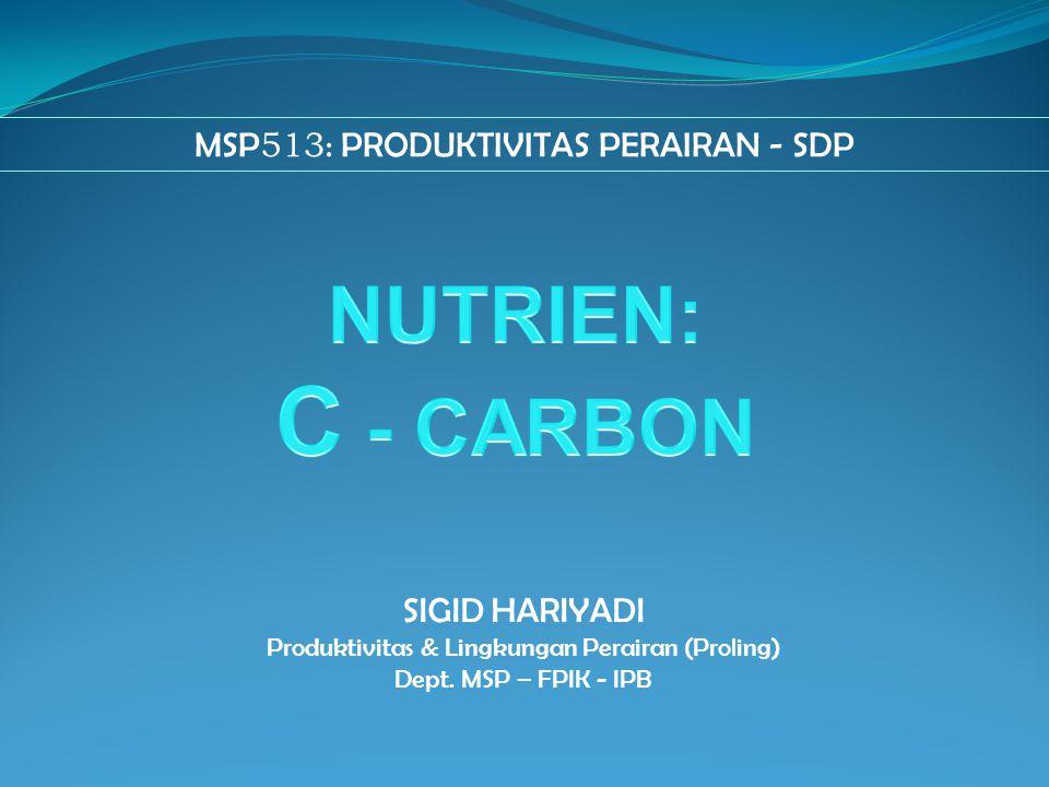 MSP 513 : PRODUKTIVITAS PERAIRAN - SDP SIGID HARIYADI Produktivitas & Lingkungan Perairan (Proling) Dept. MSP – FPIK - IPB