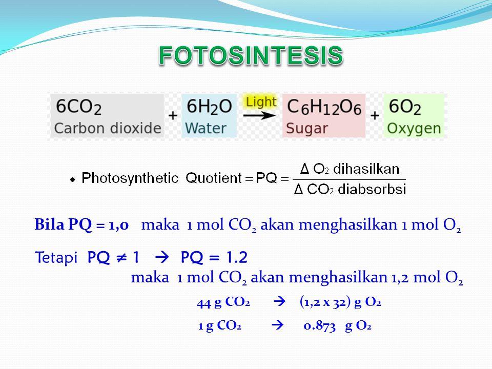 44 g CO 2  (1,2 x 32) g O 2 1 g CO 2  0.873 g O 2 Bila PQ = 1,0 maka 1 mol CO 2 akan menghasilkan 1 mol O 2 Tetapi PQ ≠ 1  PQ = 1.2 maka 1 mol CO 2