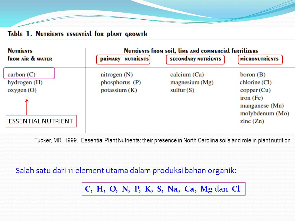 ESSENTIAL NUTRIENT Tucker, MR. 1999. Essential Plant Nutrients: their presence in North Carolina soils and role in plant nutrition Salah satu dari 11