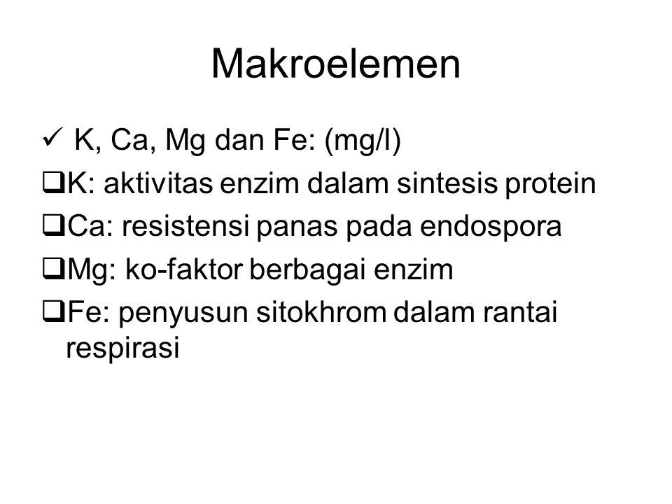 Makroelemen K, Ca, Mg dan Fe: (mg/l)  K: aktivitas enzim dalam sintesis protein  Ca: resistensi panas pada endospora  Mg: ko-faktor berbagai enzim
