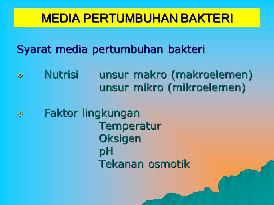 MEDIA PERTUMBUHAN BAKTERI Syarat media pertumbuhan bakteri NNNNutrisiunsur makro (makroelemen) unsur mikro (mikroelemen) FFFFaktor lingkungan Temperatur Oksigen pH Tekanan osmotik