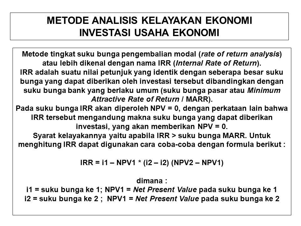 METODE ANALISIS KELAYAKAN EKONOMI INVESTASI USAHA EKONOMI Metode tingkat suku bunga pengembalian modal (rate of return analysis) atau lebih dikenal dengan nama IRR (Internal Rate of Return).