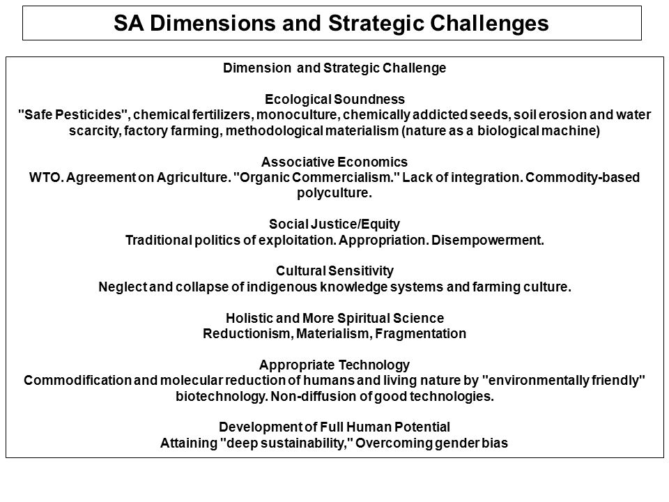 SA Dimensions and Strategic Challenges Dimension and Strategic Challenge Ecological Soundness