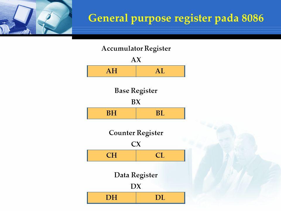 Accumulator Register AX AHAL Base Register BX BHBL Counter Register CX CHCL Data Register DX DHDL General purpose register pada 8086
