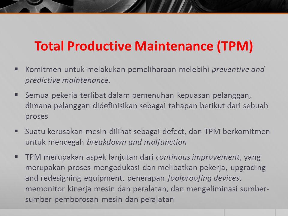 Total Productive Maintenance (TPM)  Komitmen untuk melakukan pemeliharaan melebihi preventive and predictive maintenance.  Semua pekerja terlibat da