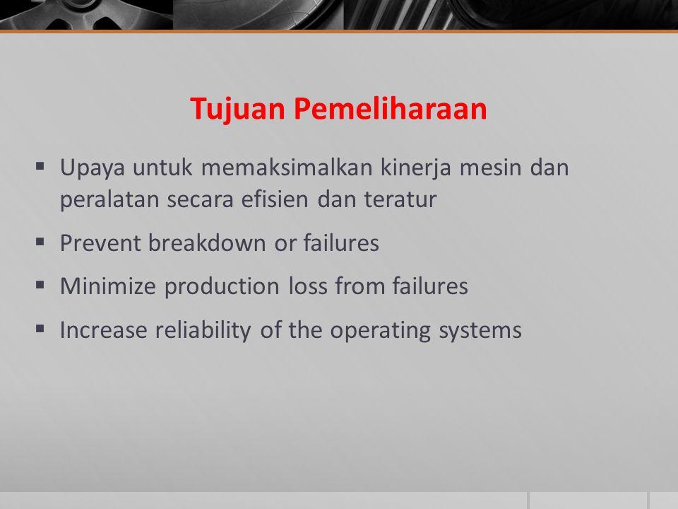Tujuan Pemeliharaan  Upaya untuk memaksimalkan kinerja mesin dan peralatan secara efisien dan teratur  Prevent breakdown or failures  Minimize prod