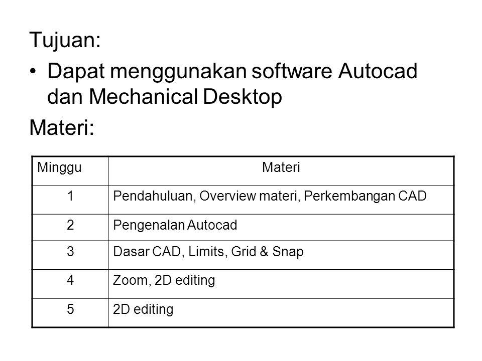 Tujuan: Dapat menggunakan software Autocad dan Mechanical Desktop Materi: MingguMateri 1Pendahuluan, Overview materi, Perkembangan CAD 2Pengenalan Autocad 3Dasar CAD, Limits, Grid & Snap 4Zoom, 2D editing 52D editing