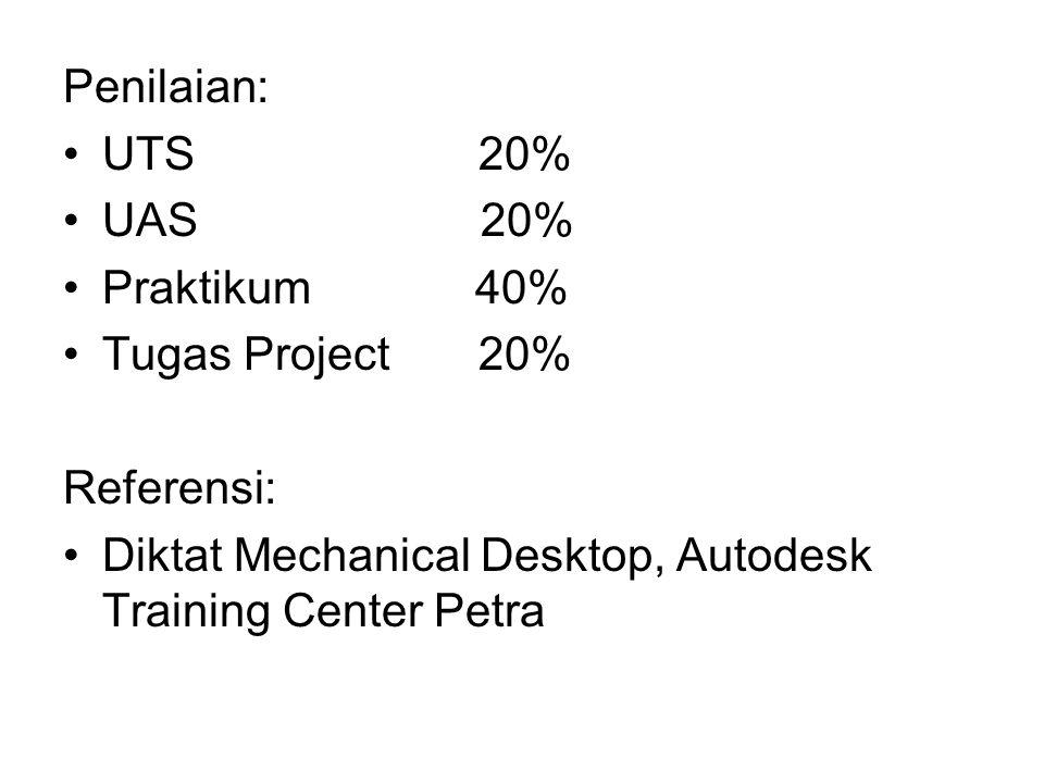 Penilaian: UTS 20% UAS 20% Praktikum 40% Tugas Project 20% Referensi: Diktat Mechanical Desktop, Autodesk Training Center Petra