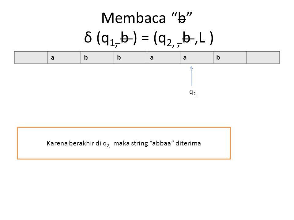 Membaca b δ (q 1, b ) = (q 2,, b,L ) abbaab Karena berakhir di q 2, maka string abbaa diterima q 2,