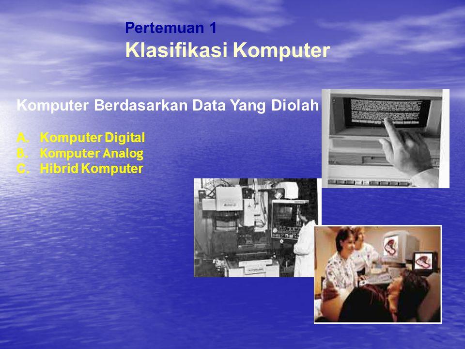 Pertemuan 1 Klasifikasi Komputer Komputer Berdasarkan Data Yang Diolah A.Komputer Digital B.Komputer Analog C.Hibrid Komputer