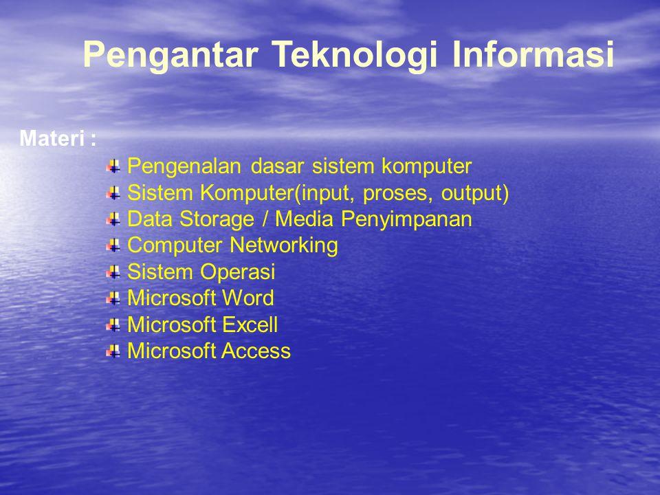 Materi : Pengantar Teknologi Informasi Pengenalan dasar sistem komputer Sistem Komputer(input, proses, output) Data Storage / Media Penyimpanan Comput