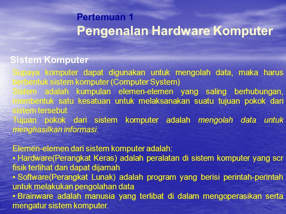 Pertemuan 1 Klasifikasi Komputer Komputer Berdasarkan Golongan A.General Purpose Computer B.Special-purpose Computer Komputer Berdasarkan Kapasitas A.Micro Computer (Personal Computer) B.Mini Computer C.Mainframe D.Super Komputer