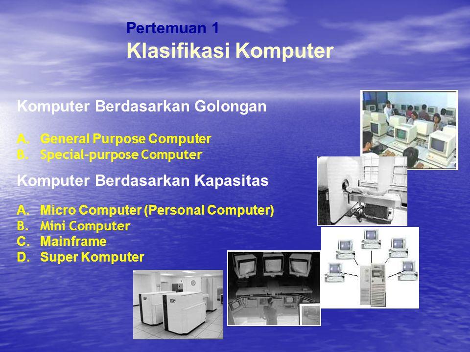 Pertemuan 1 Klasifikasi Komputer Komputer Berdasarkan Golongan A.General Purpose Computer B.Special-purpose Computer Komputer Berdasarkan Kapasitas A.