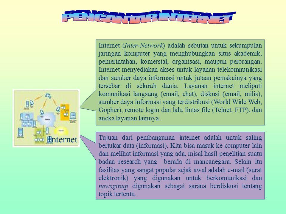 Internet (Inter-Network) adalah sebutan untuk sekumpulan jaringan komputer yang menghubungkan situs akademik, pemerintahan, komersial, organisasi, mau