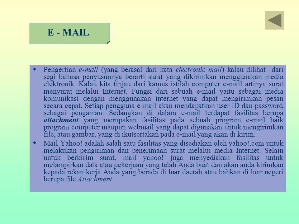  Pengertian e-mail (yang berasal dari kata electronic mail) kalau dilihat dari segi bahasa penyusunnya berarti surat yang dikirimkan menggunakan medi