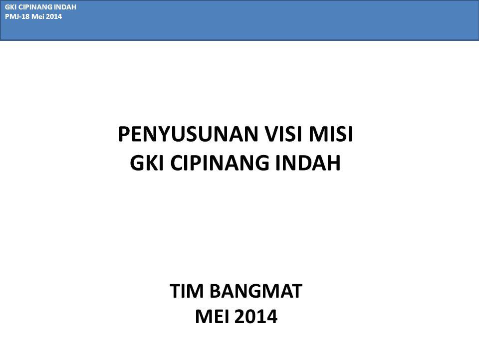 PENYUSUNAN VISI MISI GKI CIPINANG INDAH GKI CIPINANG INDAH PMJ-18 Mei 2014 TIM BANGMAT MEI 2014