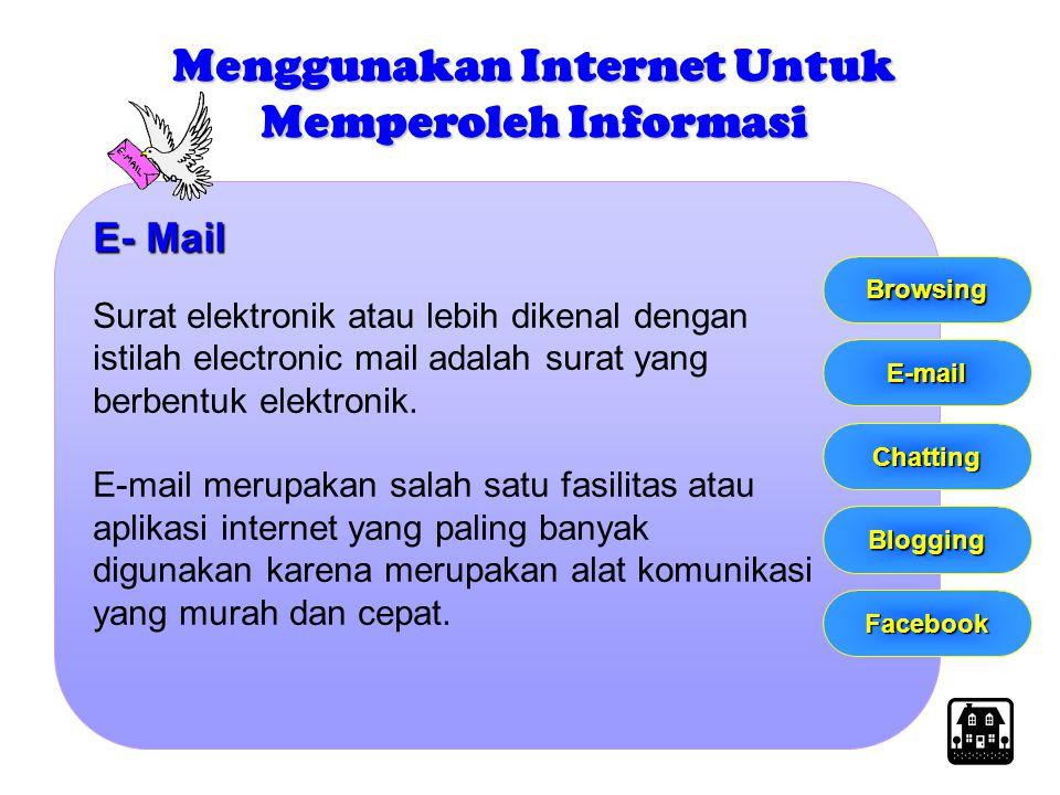 E- Mail Surat elektronik atau lebih dikenal dengan istilah electronic mail adalah surat yang berbentuk elektronik. E-mail merupakan salah satu fasilit