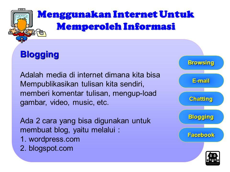 Blogging Adalah media di internet dimana kita bisa Mempublikasikan tulisan kita sendiri, memberi komentar tulisan, mengup-load gambar, video, music, e