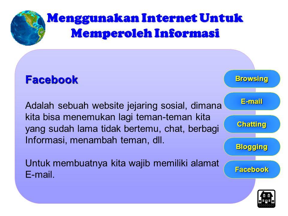 Facebook Adalah sebuah website jejaring sosial, dimana kita bisa menemukan lagi teman-teman kita yang sudah lama tidak bertemu, chat, berbagi Informas